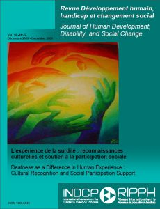 Couverture de la revue L'expérience de la surdité : reconnaissance culturelles et soutien à la participation sociale