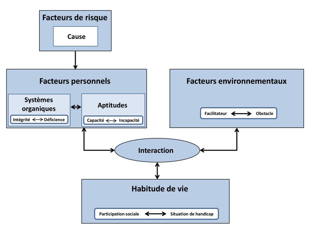 Cette image est formée de deux carrés qui illustrent les facteurs personnels et les facteurs environnementaux ainsi qu'un rectangle au bas de l'image qui illustre les habitudes de vie que l'on retrouve dans le modèle du PPH. Les relations entre ses formes sont indiquées par des flèches qui vont dans les deux directions. De plus, il y a un autre carré au-dessus des facteurs personnels qui représente les facteurs de risque. Ce carré est accompagné d'une flèche unidirectionnelle qui pointe vers les facteurs personnels.